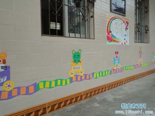 幼儿园教室外墙绘画布置:小动物坐火车