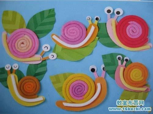 幼儿园新学期教室墙面装饰:卖萌的蜗牛