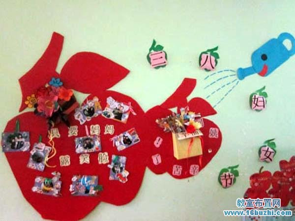 幼儿园三八妇女节教室墙面布置:红苹果墙饰