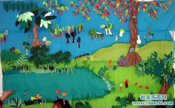 幼儿园夏天主题墙设计:夏天树林宁静池塘_教室布置网