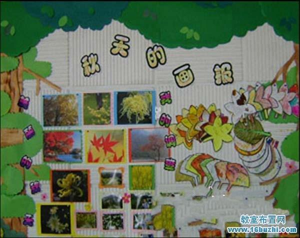 幼儿园秋天主题墙饰布置:秋天的画报