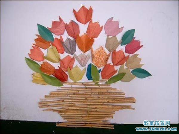 幼儿园墙面手工装饰:玫瑰花