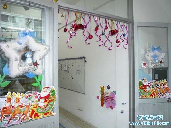 幼儿园圣诞节教室玻璃门贴饰