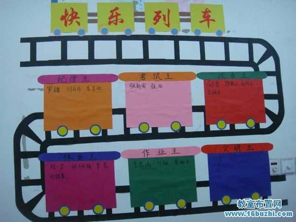 小学班级评比栏创意设计:快乐列车_教室布置网