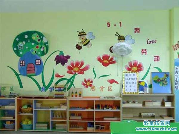 幼儿园五一劳动节墙面彩绘设计图案_教室布置网